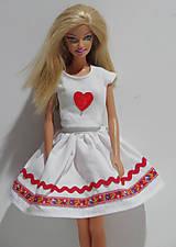 Hračky - Folk suknička pre Barbie červená - 8618362_