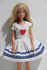 Hračky - Folk suknička pre Barbie modrá - 8618388_
