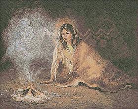 Návody a literatúra - M115 Indiánka pri ohni - predloha na vyšívanie - 8615407_