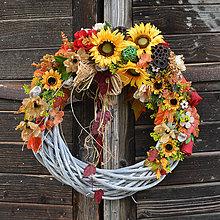Dekorácie - Veľký jesenný veniec so slnečnicou - 8616863_