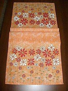 Úžitkový textil - Stredový obrus , ručne maľovaný,  140x 40cm ,oranžový - 8616071_