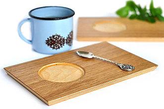 Nádoby - MON OAK /Drevený servírovací podnos na kávu/ - 8618778_