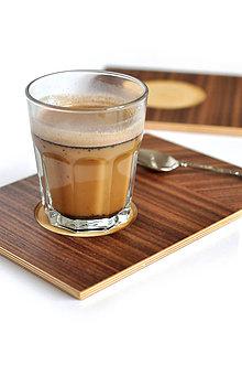 Nádoby - MON WALNUT /Drevený servírovací podnos na kávu/ - 8618789_