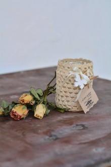 Svietidlá a sviečky - Háčkovaný svietnik Motýlik - 8615946_