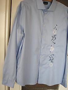 Košele - Pánska vyšívaná košeľa - 8617785_