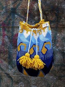 Kabelky - Stredná žlto-modrá crossbody taška - 8618346_