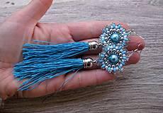 Náušnice - Šité náušničky so strapcami - 8616812_
