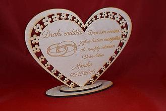 Darčeky pre svadobčanov - Poďakovanie Rodičom srdce 40 - 8616341_