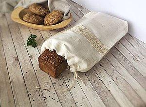 Úžitkový textil - Vrecko na chlieb z ľanového plátna - 8616420_