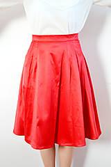 Sukne - Červená saténová midi sukňa - 8618668_