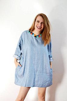 Šaty - Modré ľanové šaty (top) s vyšívanými diamantami - 8618393_