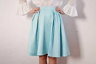 Sukne - Tyrkysová saténová sukňa - 8618517_