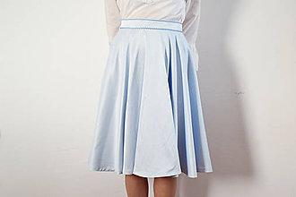 Sukne - Modrá saténová kruhová sukňa - obrovská zľava - 8618603_