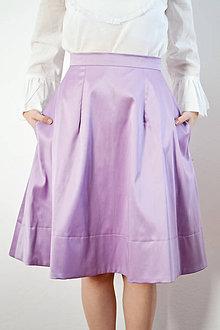 Sukne - Fialová saténová sukňa - obrovská zľava - 8618641_