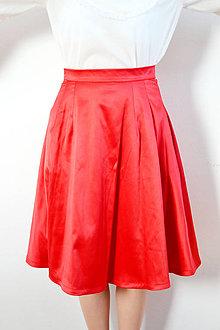 Sukne - Červená saténová midi sukňa - obrovská zľava - 8618668_