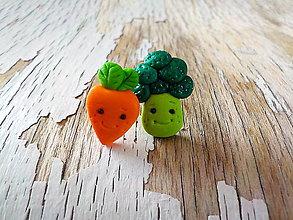 Náušnice - pani mrkvička a pán brokolica-napichovačky - 8618323_