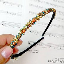 Ozdoby do vlasov - Autumn Colors II. Beads Headband / Korálková čelenka Farby jesene II. #0256 - 8620927_