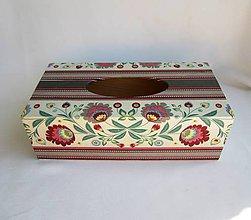 Krabičky - Krabica na vreckovky-šedý folk - 8619658_