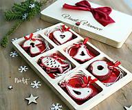 - Drevené vianočné ozdoby - Červená folklórna kolekcia - 8619528_