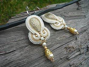 Náušnice - Soutache náušnice Oriental Golden Ivory - 8623188_