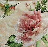 - S1061 - Servítky - kvet, kvetinka, kvietok, kolibrík, flowers - 8619419_