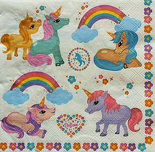 Papier - S1063 - Servítky - dúha, unicorn, jednorožec, kvietky, oblak - 8620377_