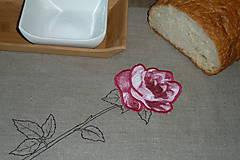 Úžitkový textil - Ľanový chlebník Ružová ruža - 8623063_