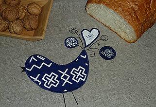 Úžitkový textil - Ľanový chlebník Čičmany Modrý vtáčik - 8622949_