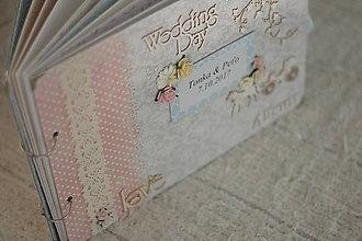 Papiernictvo - Svadobný fotoalbum v sivej, ružovej a mentolovej - 8623008_