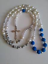 Iné šperky - Ruženec s menom a dátumom E016 (modrá) - 8623779_