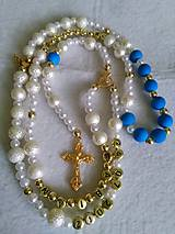 Iné šperky - Ruženec s menom a dátumom E017 (modrá) - 8623783_
