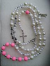 Iné šperky - Ruženec s menom a dátumom E016 (svetloružová) - 8623795_