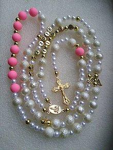Iné šperky - Ruženec s menom a dátumom E017 (svetloružová) - 8623798_