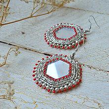 Náušnice - Mirror earrings  - vyšívané náušnice - 8621836_
