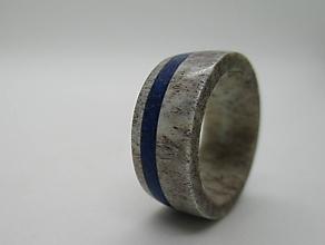 Prstene - Prsteň z jelenieho parožia a Lapis Lazuli - 8619164_