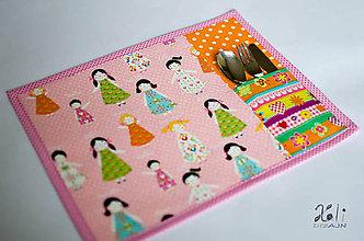Textil - Detské prestieranie s vreckom na príbor Dievčatá - 8622979_