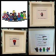 Obrazy - SUPERHERO SUPER HRDINA 1 LEGO FIGÚRKA OBRAZ Originálny darček Fotorámik - 8623822_
