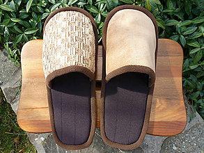 Obuv - Hnedé papuče s béžovým vrchom - 8622842_