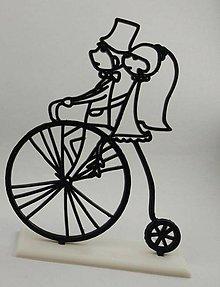 Darčeky pre svadobčanov - Svadobná dekorácia - párik na bicykli - 8622466_