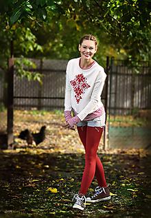 Mikiny - Pohodlná hrejivá mikina Red Folk - 8619698_