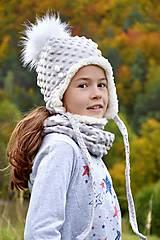 Detské súpravy - Minky ušianka+nákrčník Silver & fleece cream - 8619546_