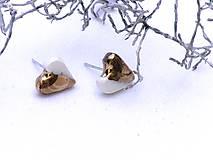- náušnice zlaté srdce - 8620360_