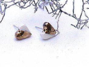 Náušnice - náušnice zlaté srdce - 8620360_