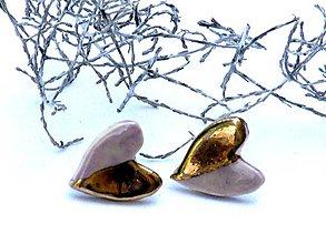 Náušnice - náušnice zlato fialové  srdce - 8620409_