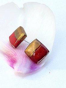 Náušnice - náušnice červeno zlaté - 8620574_