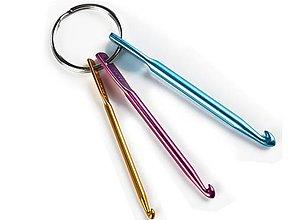 Galantéria - Mini háčiky na kľúčenke - sada 3ks - 8622566_