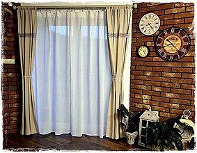 Úžitkový textil - Dlhý béžový záves(s režným efektom) kombinovaný so šedou krajkou - 8620956_