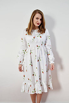Šaty - Biele šaty s ružičkami - 8619259_