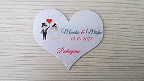 Darčeky pre svadobčanov - Magnetka srdce svadobný pár - 8623096_