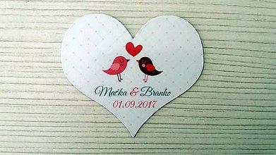 Darčeky pre svadobčanov - Magnetka vtáčiky srdce - 8623089_